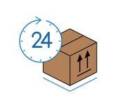Κουτί από χαρτόνι με το ρολόι που απομονώνεται στο άσπρο υπόβαθρο Στοκ Φωτογραφίες