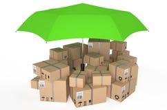 Κουτί από χαρτόνι που καλύπτεται από την ομπρέλα Στοκ εικόνα με δικαίωμα ελεύθερης χρήσης