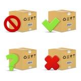 Κουτιά από χαρτόνι με τα σημάδια στάσεων και ερώτησης, τα λανθασμένα και σωστά σημάδια ελέγχου Στοκ εικόνα με δικαίωμα ελεύθερης χρήσης