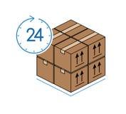 Κουτιά από χαρτόνι με το ρολόι που απομονώνεται στο άσπρο υπόβαθρο Στοκ εικόνες με δικαίωμα ελεύθερης χρήσης