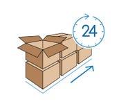 Κουτιά από χαρτόνι με το ρολόι στο άσπρο υπόβαθρο Στοκ Φωτογραφία