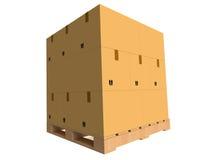 Κουτιά από χαρτόνι σε μια παλέτα Στοκ Εικόνες
