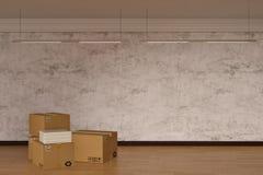 Κουτιά από χαρτόνι στο ξύλινο πάτωμα τρισδιάστατη απεικόνιση στοκ εικόνες