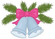 Κουδούνια Χριστουγέννων και κλάδοι έλατου Στοκ Εικόνες