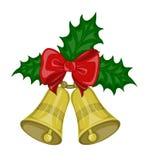 Κουδούνια Χριστουγέννων με το τόξο και τον ελαιόπρινο φύλλων Στοκ φωτογραφία με δικαίωμα ελεύθερης χρήσης