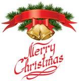 Κουδούνια Χριστουγέννων με το χριστουγεννιάτικο δέντρο απεικόνιση αποθεμάτων