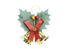 Κουδούνια Χριστουγέννων στην άσπρη ανασκόπηση Στοκ Εικόνες