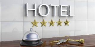 Κουδούνι και κλειδιά ξενοδοχείων σε έναν μετρητή υποδοχής τρισδιάστατη απεικόνιση ελεύθερη απεικόνιση δικαιώματος