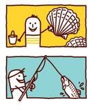 κοχύλια αλιείας ελεύθερη απεικόνιση δικαιώματος