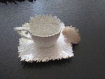 Κοχύλι κρέμας στο ζευγάρι τσαγιού διανυσματική απεικόνιση