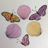 Κοχύλια θάλασσας και ζωγραφική watercolor πεταλούδων Στοκ εικόνα με δικαίωμα ελεύθερης χρήσης