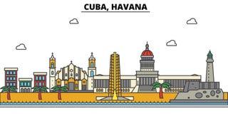 Κούβα Αβάνα Αρχιτεκτονική Editable οριζόντων πόλεων απεικόνιση αποθεμάτων