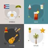 Κούβα 4 επίπεδη τετραγωνική σύνθεση εικονιδίων διανυσματική απεικόνιση