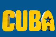 Κούβα, κίτρινες επιστολές, τρισδιάστατες, τρεις-με βάση τις διαστάσεης, με το αστέρι στο Α ελεύθερη απεικόνιση δικαιώματος