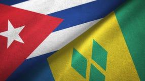 Κούβα και Άγιος Βικέντιος και Γρεναδίνες δύο υφαντικό ύφασμα σημαιών διανυσματική απεικόνιση