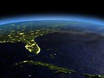 Κούβα και Φλώριδα τη νύχτα ελεύθερη απεικόνιση δικαιώματος