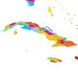 Κούβα, καραϊβικός, ζωηρόχρωμος διανυσματικός χάρτης ελεύθερη απεικόνιση δικαιώματος