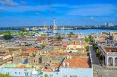 Κούβα, πανόραμα από τον αέρα στην πόλη και το λιμένα στοκ φωτογραφία με δικαίωμα ελεύθερης χρήσης
