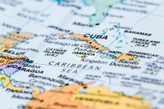 Κούβα σε έναν χάρτη Στοκ Φωτογραφίες