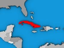 Κούβα στον τρισδιάστατο χάρτη διανυσματική απεικόνιση