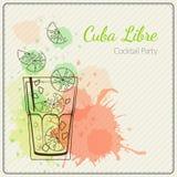 Κούβα libre Συρμένη χέρι διανυσματική απεικόνιση του κοκτέιλ ζωηρόχρωμο watercolor ανασκόπησης Στοκ Φωτογραφία