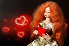 Κούκλα και καρδιά στοκ φωτογραφία