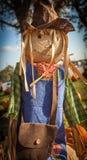 Κούκλα σανού σε ένα μπάλωμα κολοκύθας στο Τέξας, σκιάχτρο Στοκ Εικόνα