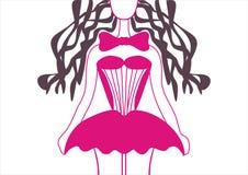 Κούκλα σε ένα ρόδινο φόρεμα απεικόνιση αποθεμάτων