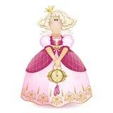 Κούκλα Tilda Πριγκήπισσα με μια κορώνα σε μια ρόδινη εσθήτα σφαιρών με ένα διακοσμητικό ρολόι και τις παντόφλες στα χέρια του Δια Στοκ Εικόνες