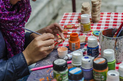 Κούκλες ζωγραφικής καλλιτεχνών Στοκ Εικόνα