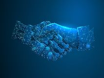 Κούνημα χεριών ανθρώπων και ρομπότ Μελλοντική επιχείρηση έννοιας Polygonal χαμηλός πολυ Μελλοντική έννοια wireframe Διανυσματική  απεικόνιση αποθεμάτων