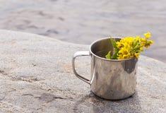 Κούπα ανοξείδωτου στο κοντινό νερό πετρών στο υπόβαθρο φύσης Στοκ εικόνες με δικαίωμα ελεύθερης χρήσης
