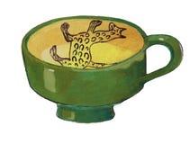 Κούπα αργίλου - δώστε τη συρμένη έγχρωμη εικονογράφηση, μέρος του μεσαιωνικού συνόλου σειράς Στοκ εικόνες με δικαίωμα ελεύθερης χρήσης