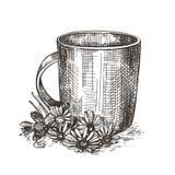 Κούπα και ανθοδέσμη των wildflowers Απεικόνιση ύφους σκίτσων απεικόνιση αποθεμάτων