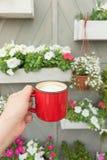Κούπα καφέ εκμετάλλευσης ατόμων ενάντια στον τοίχο που διακοσμείται με τα λουλούδια Στοκ Εικόνα