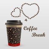 Κούπα καφέ με ένα μήνυμα Στοκ εικόνα με δικαίωμα ελεύθερης χρήσης