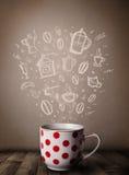 Κούπα καφέ με συρμένα τα χέρι εξαρτήματα κουζινών Στοκ Φωτογραφίες