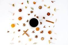 Κούπα καφέ με την κανέλα, το καρδάμωμο και τα ξηρά εποχιακά λουλούδια στοκ εικόνες