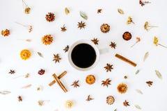 Κούπα καφέ με την κανέλα, το καρδάμωμο και τα ξηρά εποχιακά λουλούδια στοκ εικόνα με δικαίωμα ελεύθερης χρήσης