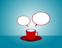 Κούπα καφέ με τις λεκτικές φυσαλίδες Διάνυσμα επίπεδο Στοκ Φωτογραφία