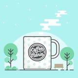 Κούπα καφέ με το λογότυπο Καυτός καφές στην έκδοση κινούμενων σχεδίων διανυσματική απεικόνιση