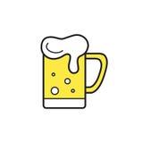 Κούπα της λεπτής γραμμής εικονιδίων μπύρας για τον Ιστό και κινητός Στοκ Εικόνα