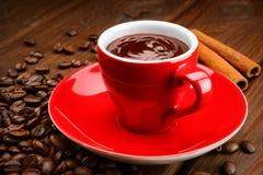 Κούπα της καυτής σοκολάτας με την κανέλα Στοκ Εικόνα