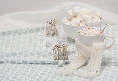 Κούπα της καυτής σοκολάτας με το μαντίλι Marshmallows και Στοκ φωτογραφίες με δικαίωμα ελεύθερης χρήσης