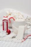 Κούπα της καυτής σοκολάτας με το μαντίλι Marshmallows και Στοκ Εικόνα