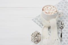 Κούπα της καυτής σοκολάτας με το μαντίλι marshmallows Στοκ εικόνες με δικαίωμα ελεύθερης χρήσης
