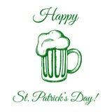 Κούπα της μπύρας σε πράσινο Στοκ Φωτογραφία
