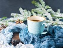 Κούπα του καφέ και του γάλακτος στο σκοτεινό χειμερινό υπόβαθρο Στοκ Εικόνες