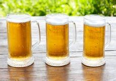 Κούπα τρία της μπύρας Στοκ φωτογραφία με δικαίωμα ελεύθερης χρήσης