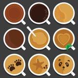 Κούπες και φλυτζάνια καφέ για τους εραστές καφέ διανυσματική απεικόνιση